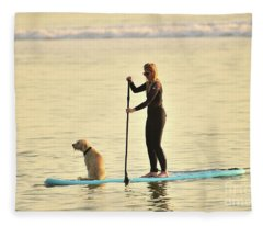 Paddleboarding With Her Dog Fleece Blanket