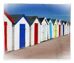 Paignton Beach Huts Fleece Blanket