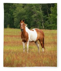 Paint Horse In Pasture Fleece Blanket