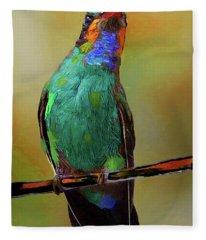 Painted Hummingbird Fleece Blanket