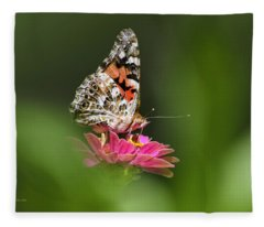Fleece Blanket featuring the photograph Painted Lady Butterfly At Rest by Christina Rollo