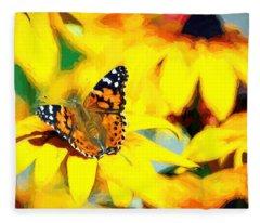 Painted Lady Butterfly Van Gogh Fleece Blanket