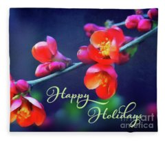 Painted Quince Blossoms Winter Holiday Art Fleece Blanket