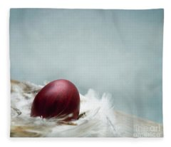 Painted Red Easter Egg In Bird Feather Nest Over Vintage Blue Ar Fleece Blanket