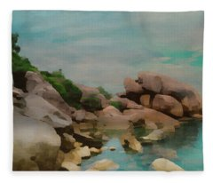 Painted Rocks At Full Tide Fleece Blanket