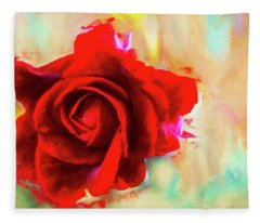 Painted Rose On Colorful Stucco Fleece Blanket