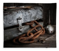 Painted Toolbox And Chain Fleece Blanket