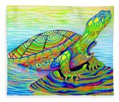 Painted Turtle Fleece Blanket