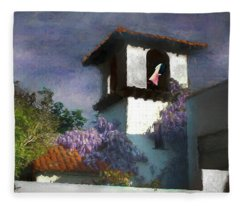Painted Washline In A Spanish Tower Fleece Blanket