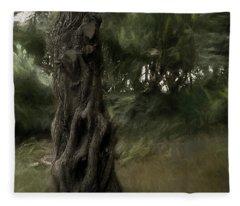 Painted Wind In The Cedar Fleece Blanket