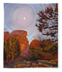 Pale Moon Over Vedauwoo Fleece Blanket
