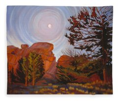 Pale Moon Over Vedauwoo Fleece Blanket