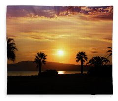 Palm Beach In Greece Fleece Blanket