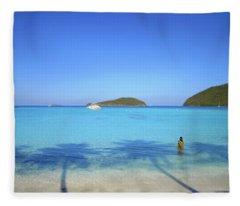 Palm Shadows On The Atlantic Fleece Blanket