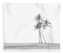 Palm Tree Cluster In Black And White Fleece Blanket