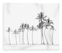 Palm Tree Horizon In Black And White Fleece Blanket