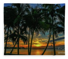 Palm Tree Lagoon Sunrise Fleece Blanket