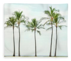 Palm Trees On The Beach Fleece Blanket