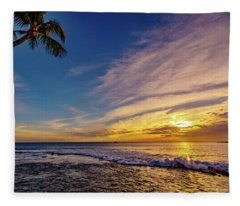 Palm Wave Sunset Fleece Blanket