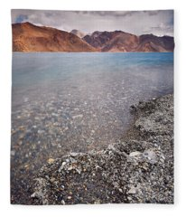 Fleece Blanket featuring the photograph Pangong Tso by Whitney Goodey