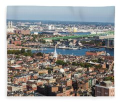 Panorama Of Boston North End And Tobin Bridge  Fleece Blanket