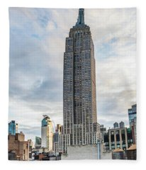 Panorama Of North Face Of The Empire State Building And Garment District Buildings Fleece Blanket