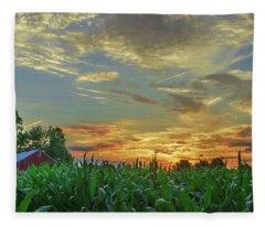 Panoramic Cornfield Sunset Fleece Blanket