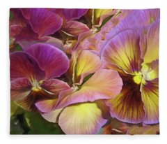Fleece Blanket featuring the mixed media Pansy Field In Violet And Yellow 12 by Lynda Lehmann