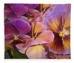 Fleece Blanket featuring the mixed media Pansy Field In Violet And Yellow 6 by Lynda Lehmann