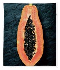Papaya Cross-section On Dark Slate Fleece Blanket