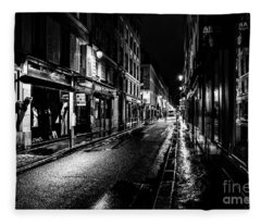 Paris At Night - Rue De Vernueuil Fleece Blanket
