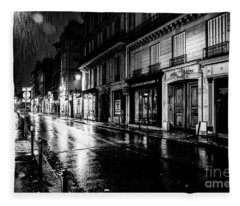 Paris At Night - Rue Saints Peres Fleece Blanket