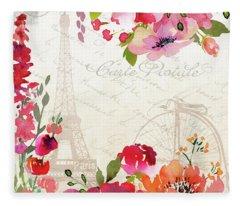 Paris Blossoms B Fleece Blanket