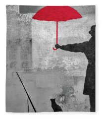 Paris Graffiti Man With Red Umbrella Fleece Blanket