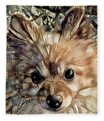 Paris The Pomeranian Dog Fleece Blanket