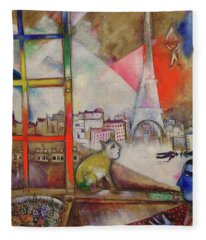 Paris Through The Window - Paris Par La Fenetre, 1913 Fleece Blanket