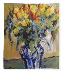 Parrot Tulips In Delft Blue Vase Fleece Blanket