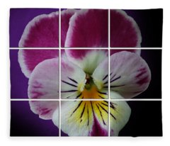 Partitioned Pansy Fleece Blanket