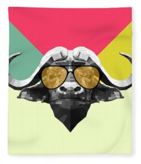 Party Buffalo In Glasses Fleece Blanket