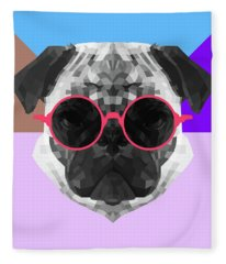 Party Pug In Pink Glasses Fleece Blanket