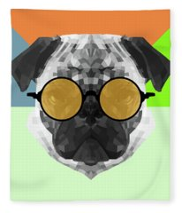 Party Pug In Yellow Glasses Fleece Blanket
