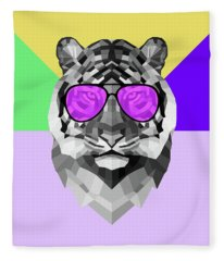 Party Tiger In Glasses Fleece Blanket