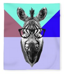 Party Zebra In Glasses Fleece Blanket