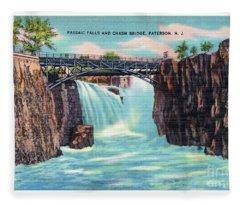 Passaic Falls And Chasm Bridge Paterson N J  Fleece Blanket