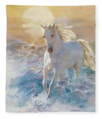 Fleece Blanket featuring the digital art Pastel Sunset by Melinda Hughes-Berland