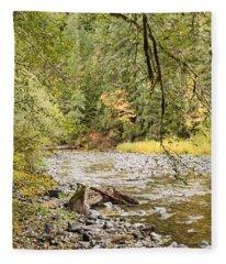 Peaceful Molalla River Fleece Blanket