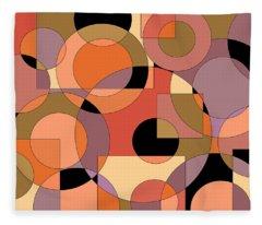 Peach Circle Abstract Fleece Blanket