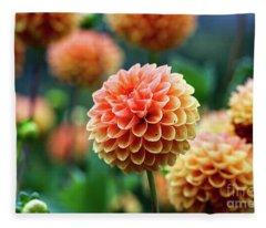 Peach Dahlias Fleece Blanket