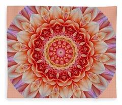 Peach Floral Mandala Fleece Blanket