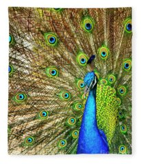 Peacock Colors Fleece Blanket
